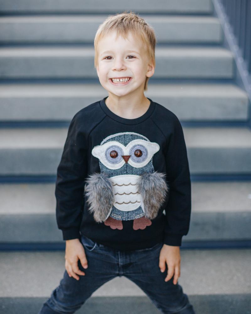 OWL KIDS SWEASHIRT BLACK
