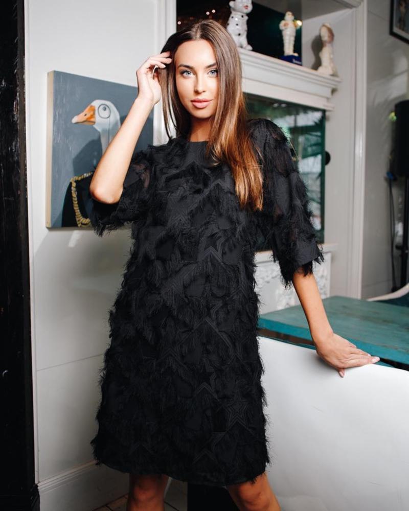 FRINGE DRESS BLACK