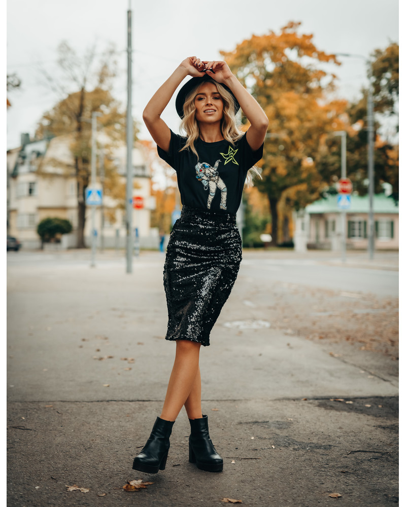 SEQUIN PENCIL SKIRT BLACK
