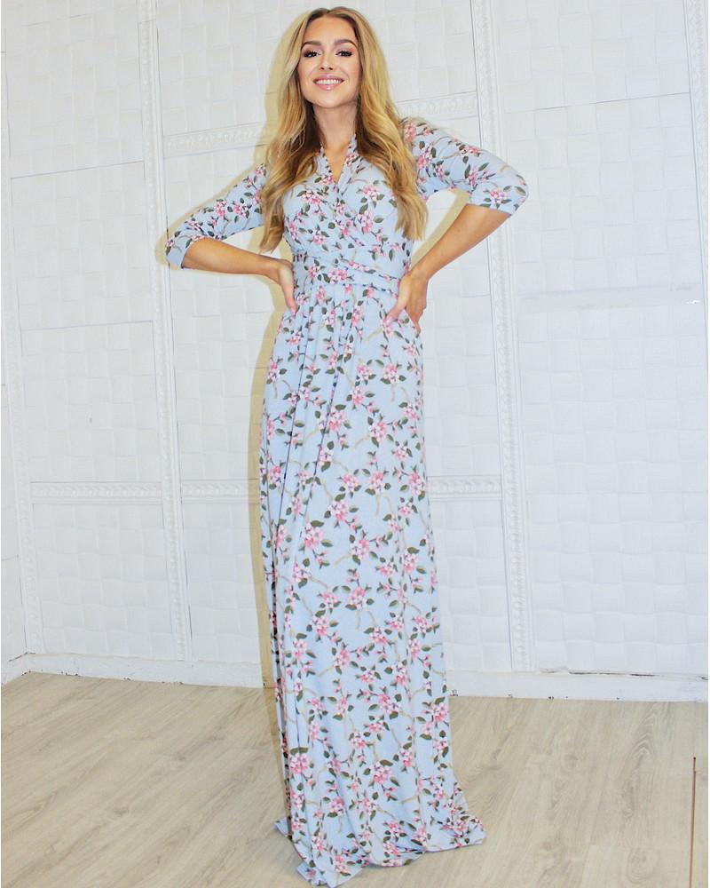 BLUE BLOSSOM ELEGANT MAXI DRESS