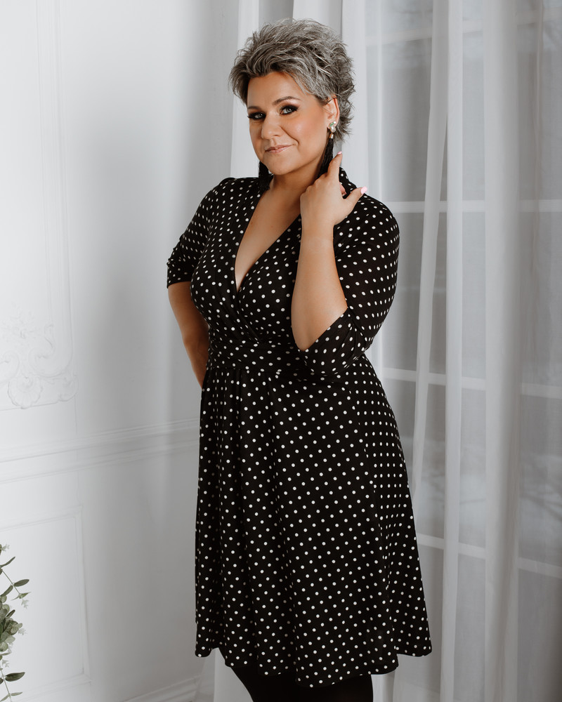 ELEGANT POLKA DOT MIDI DRESS BLACK