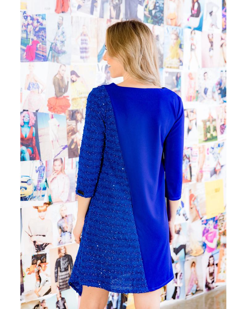 BLUE SHINY DIAGONAL DRESS