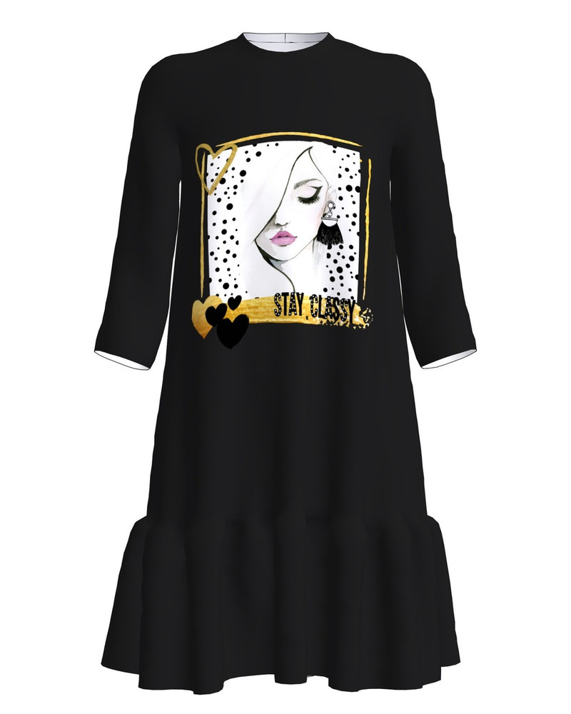 Stay classy dress frill black