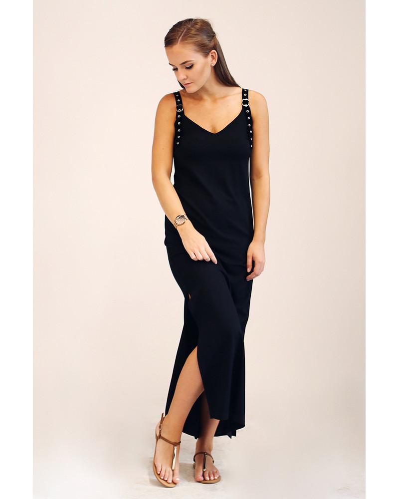 BLACK BUCKLE MAXI SLIT DRESS