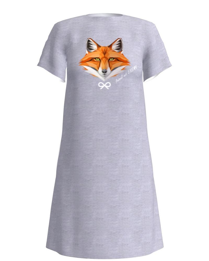 ANIMAL NOT ENEMY FOX DRESS LIGHT GREY