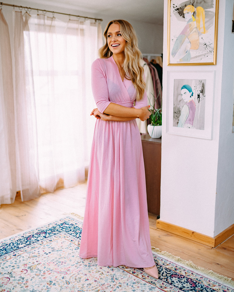 SHINY ELEGANT MAXI DRESS PINK