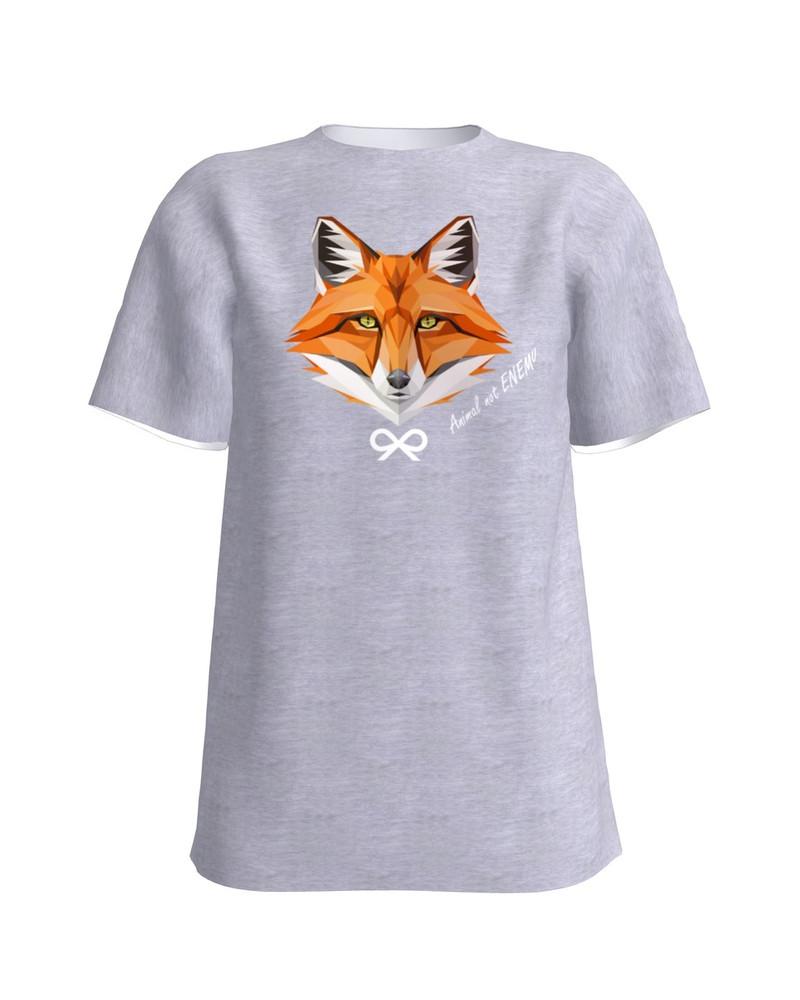 ANIMAL NOT ENEMY FOX UNISEX T-SHIRT LIGHT GREY