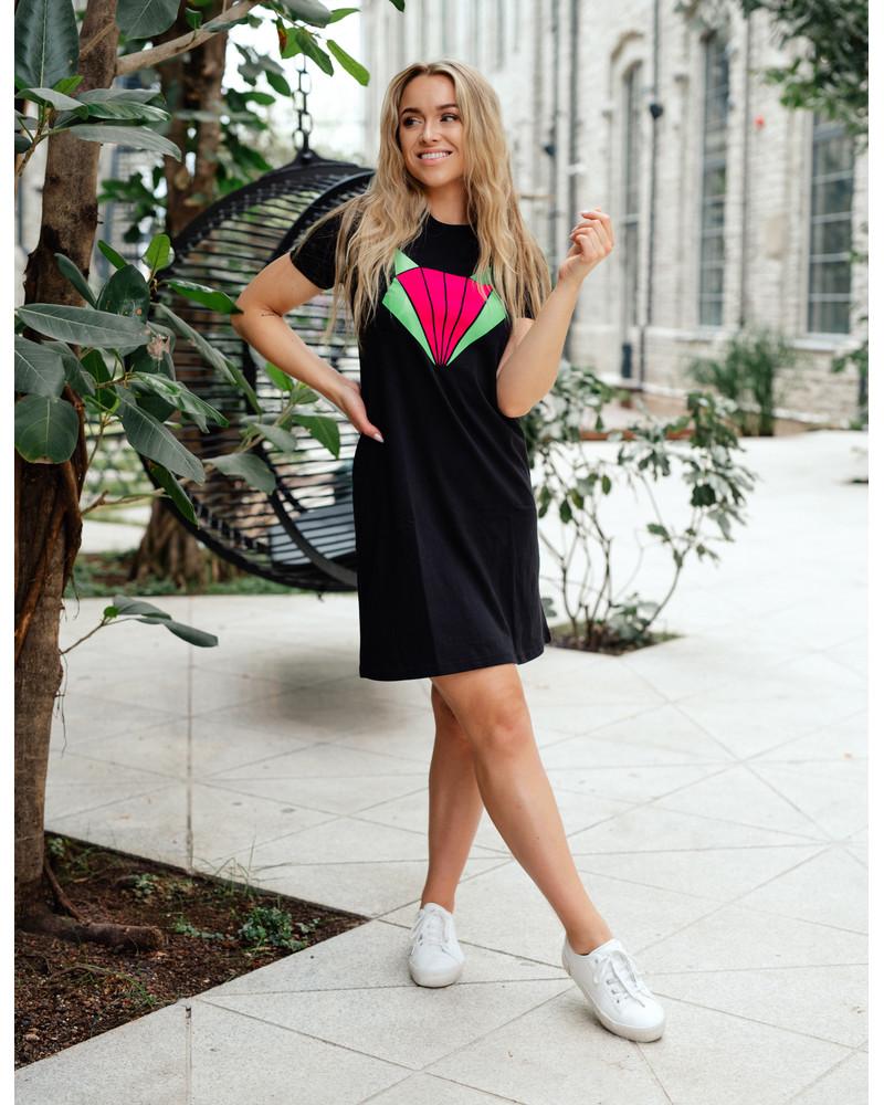 BRIGHT FOX PRINT DRESS BLACK