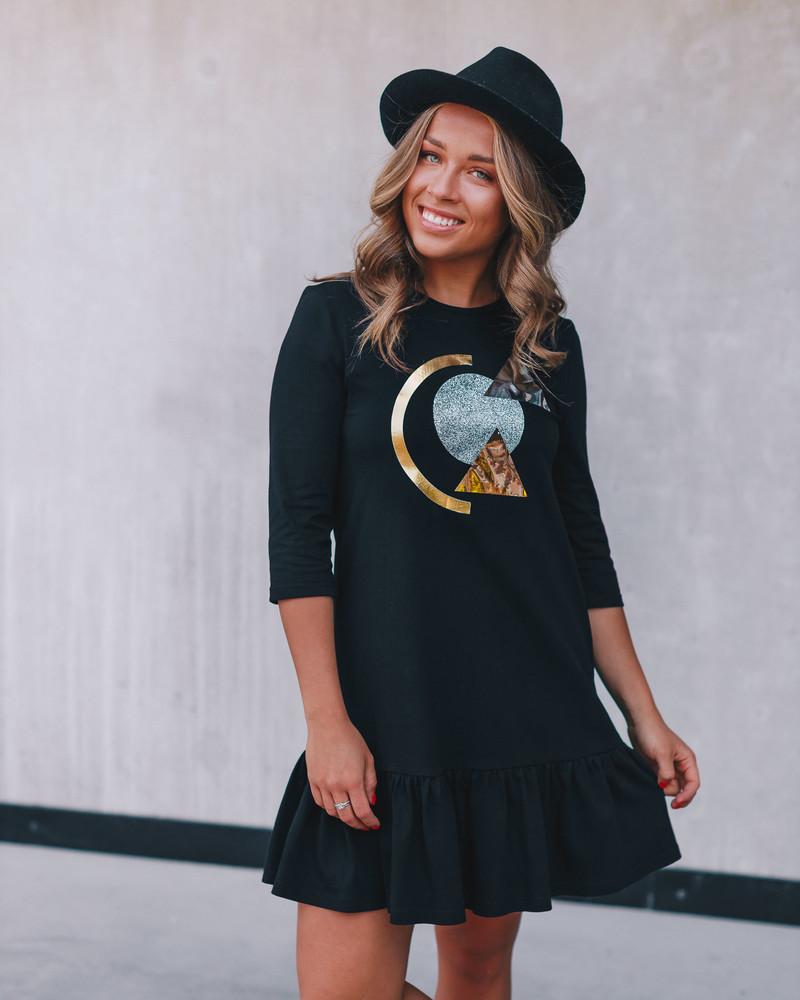 ABSTRACT PRINT FRILL DRESS BLACK