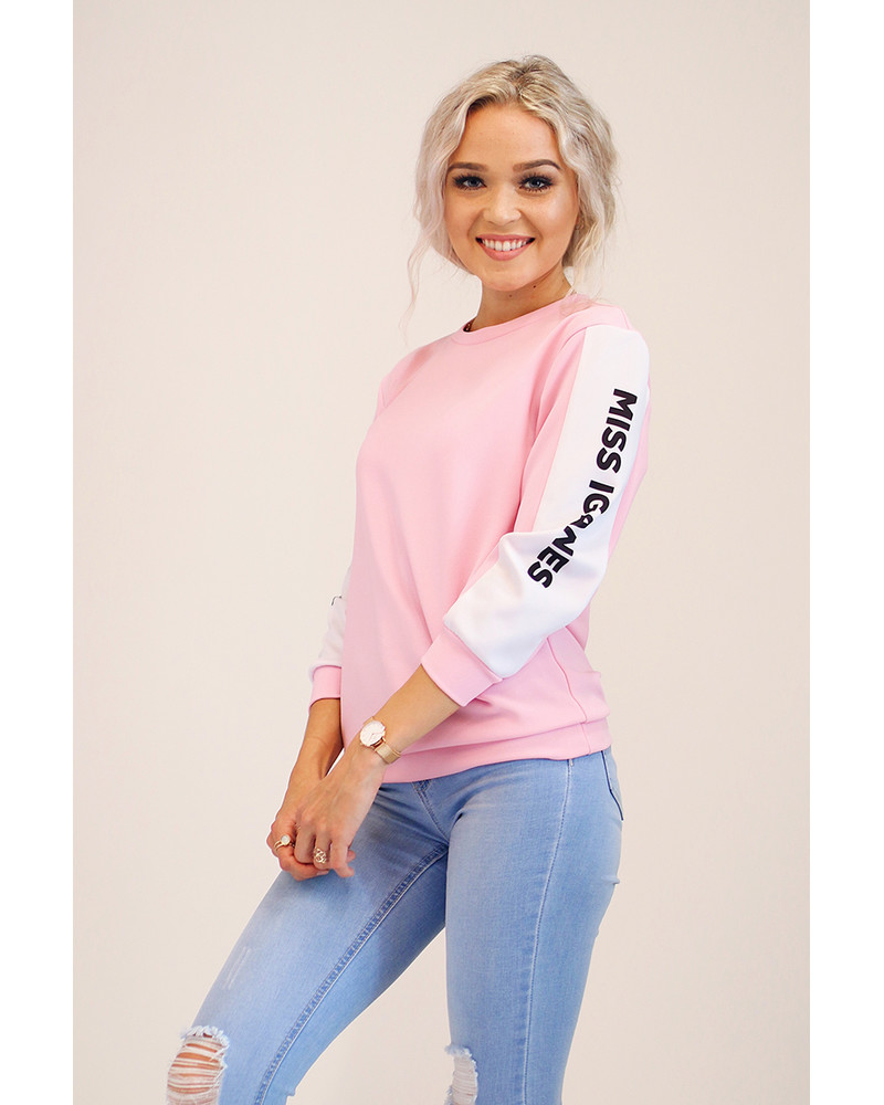 CUSTOM SLOGAN - SIDE PINK SWEATER