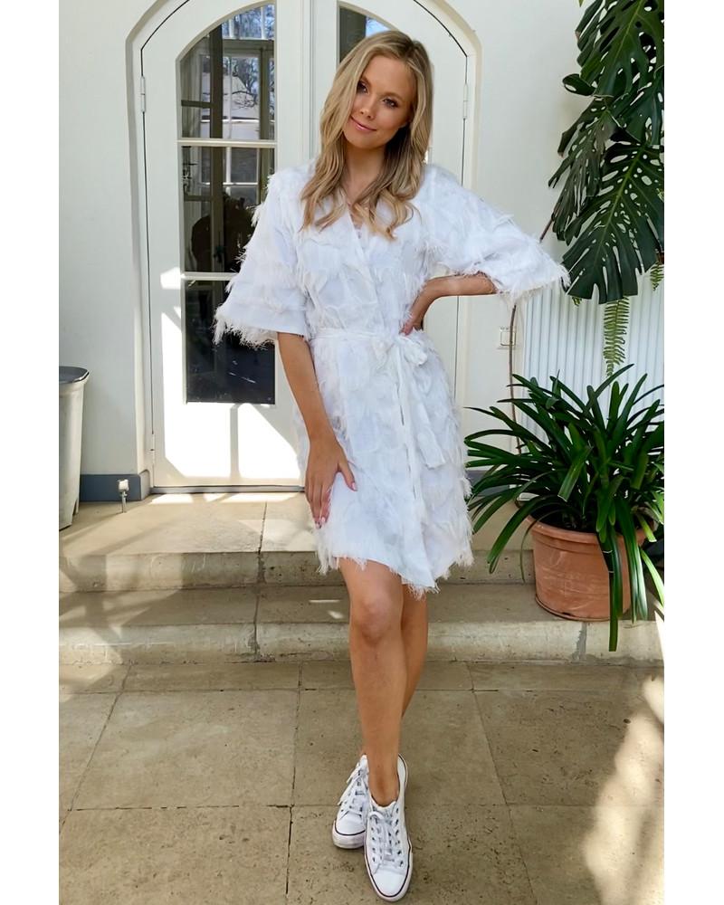 KIMONO FRINGE DRESS WHITE