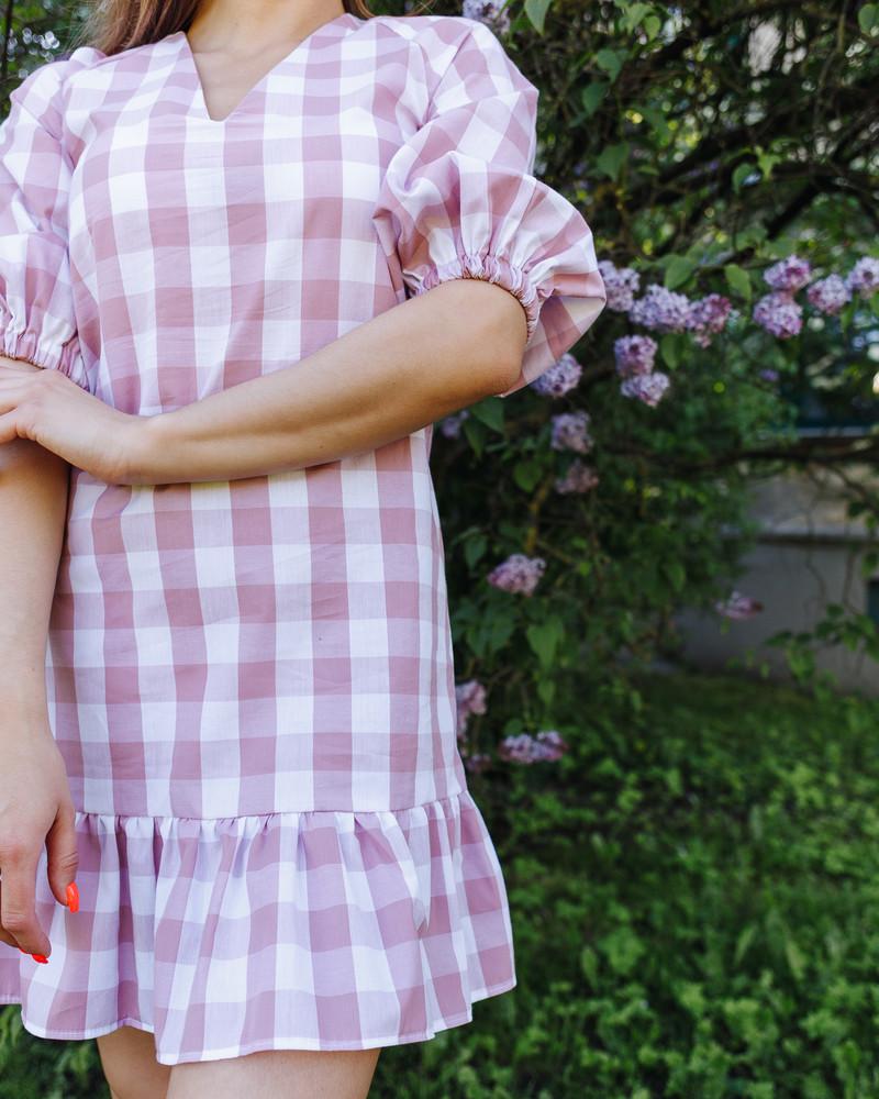SQUARED PUFF FRILL DRESS PINK