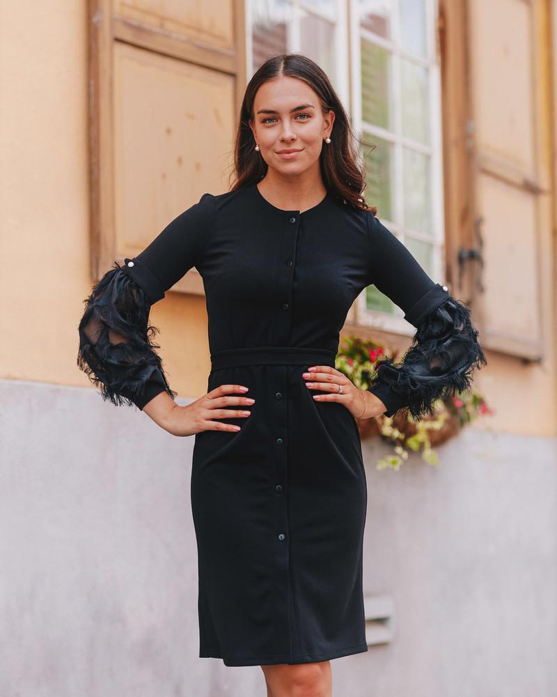 BLACK FRINGE SLEEVE BOYFRIEND DRESS