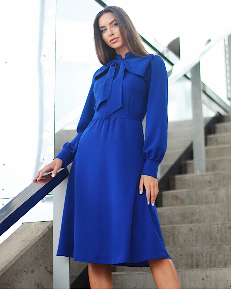 BIG BOW BLUE MIDI DRESS
