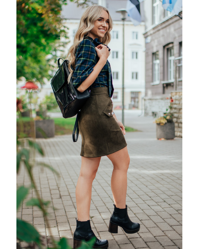 STUD SUEDE MINI SKIRT GREEN