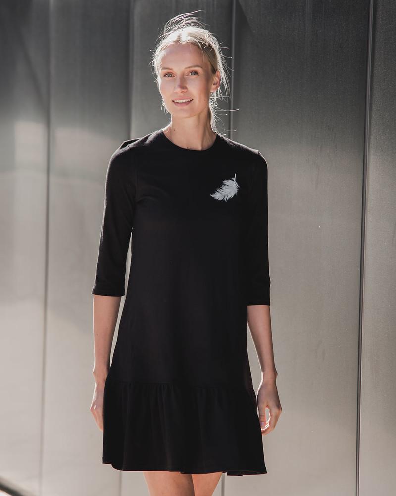BLACK ANGEL PRINT DRESS