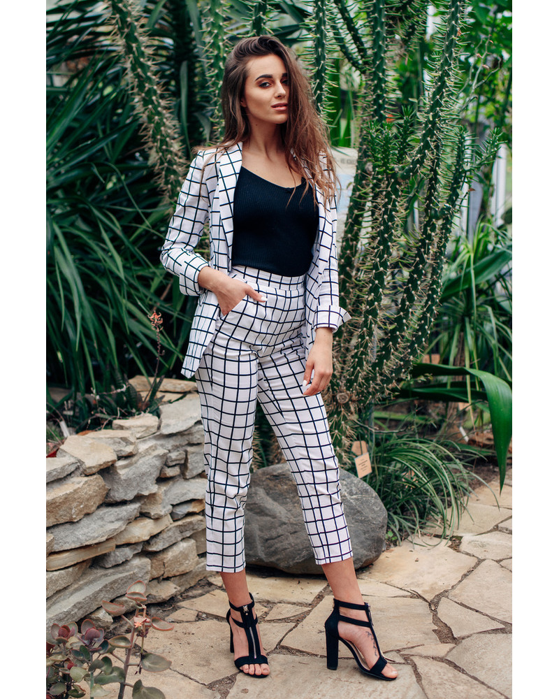 Chequered white TROUSERS