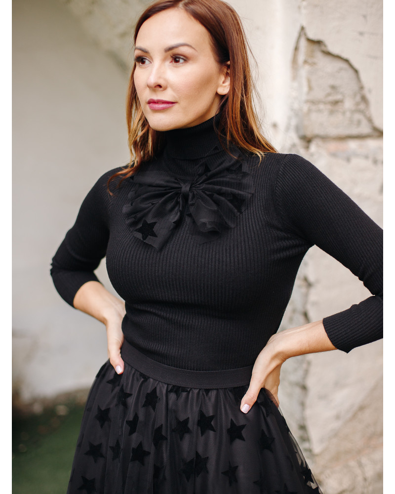 KNIT BOW PULLOVER BLACK