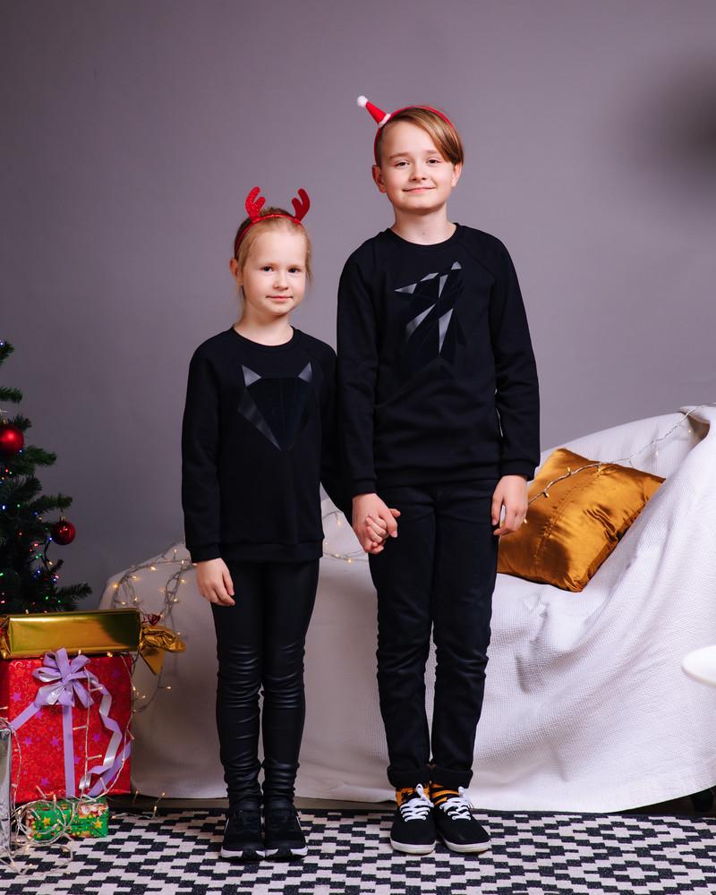 ABSTRACT WOLF KIDS SWEATSHIRT BLACK
