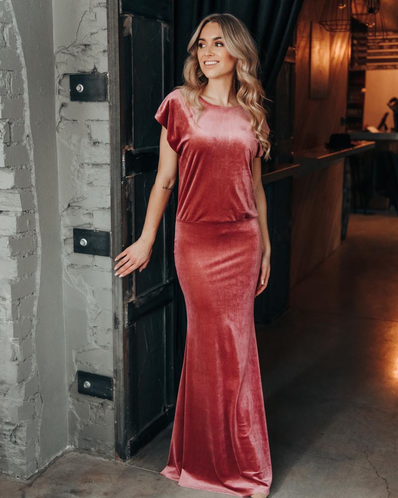 MERMAID VELVET MAXI DRESS PINK
