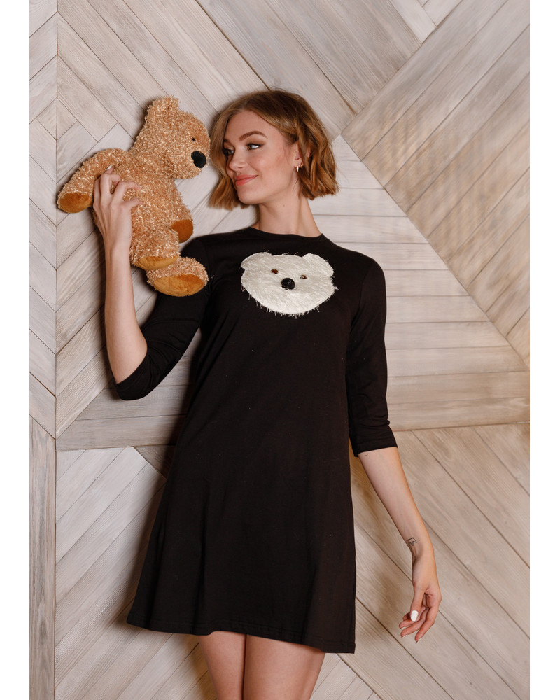 WHITE BEAR PRINT DRESS BLACK