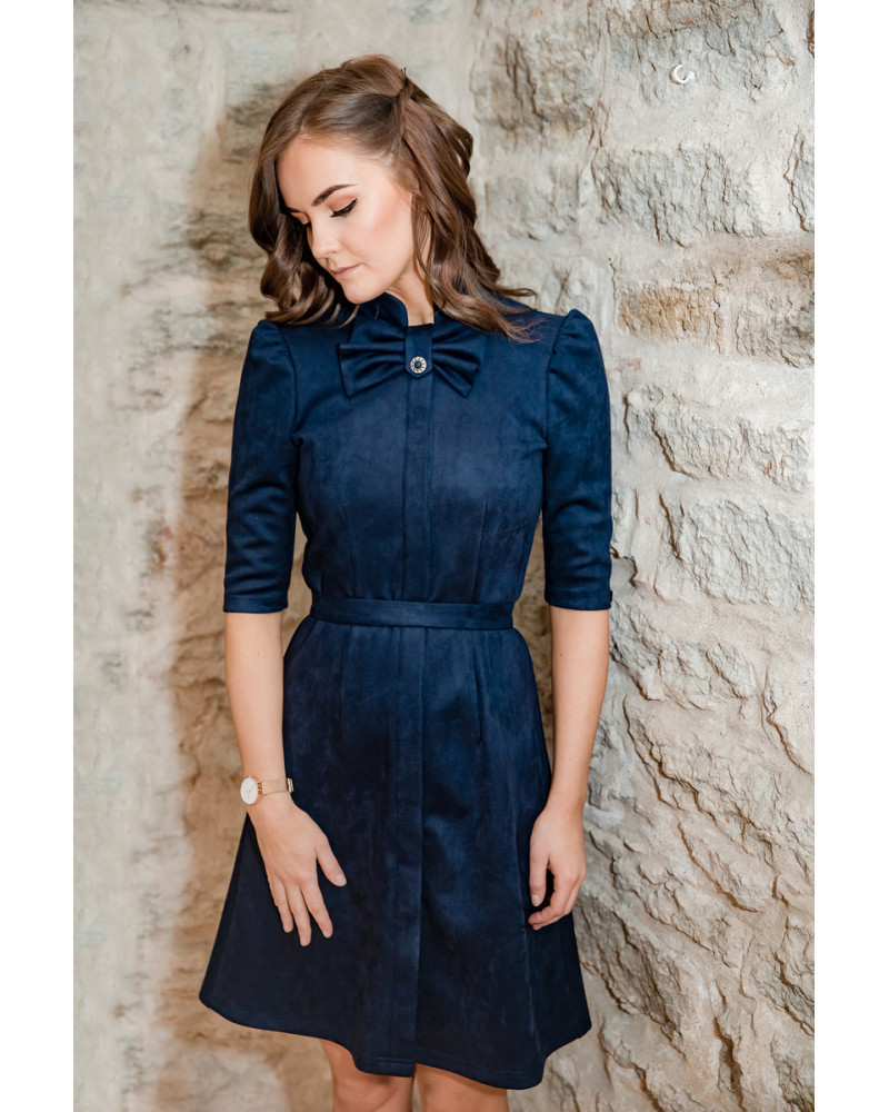 BOW SUEDE DRESS NAVY