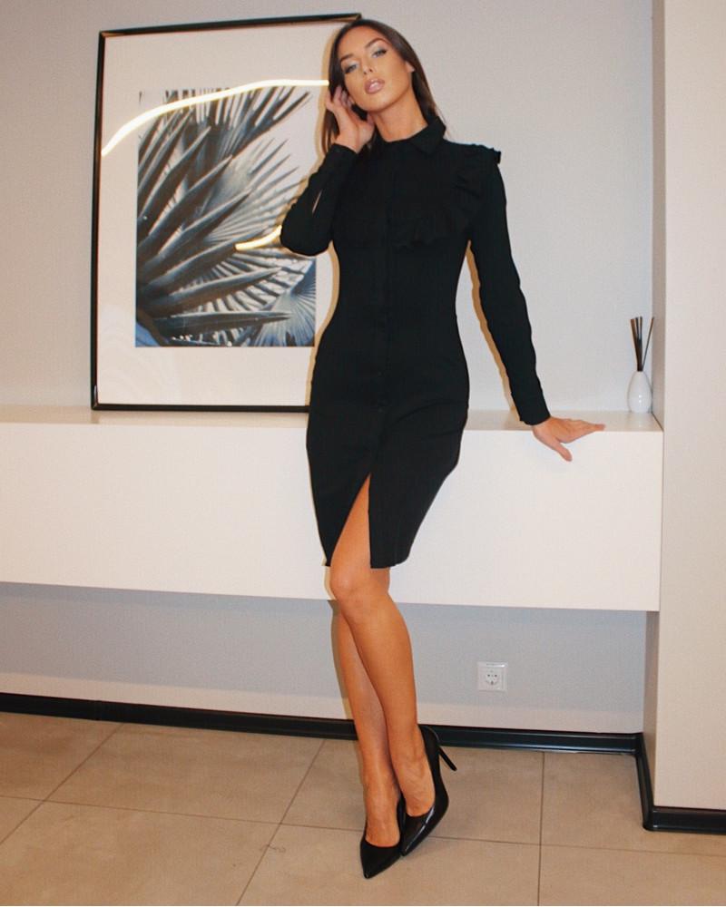 DENIM BOHO FRILL DRESS BLACK