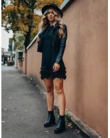 BLACK STAR PRINT FRINGE SHIRTDRESS