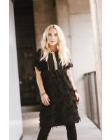 BLACK ETHNIC FRINGE DRESS