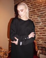 BLACK OVERSIZED STUD SLOGAN DRESS