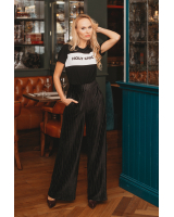 BLACK STRIPE  VELVET WIDE PANTS