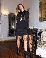 SILVER STAR BLACK HOODED DRESS