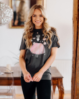 GREY PINK GIRL PRINT T SHIRT