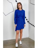 BLUE SHINY COOL CUT DRESS