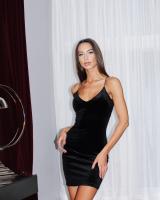 BLACK VELVET STRAP DRESS