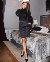 BLACK SUEDE TULIP SKIRT