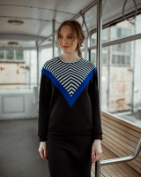 BLACK WHITE BLUE STRIPE SWEATER