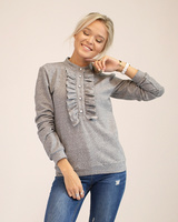 GREY FRILL SWEATER