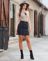 DARK BLUE TD POPPER DENIM SKIRT