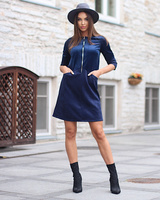 ZIPPER VELVET DRESS BLUE