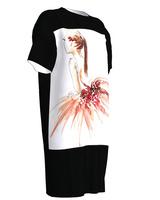 Dreaming Ballerina Tshirt Dress Short Sleeve