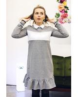 CUSTOM SLOGAN - GREY FRILL DRESS