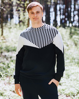 BLACK UNISEX TRIANGLE RAYS SWEATER FOR HIM