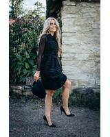 BLACK SPARKLE TULIP POCKET DRESS
