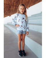 BLUE SWIFTS PRINT KIDS SWEATER