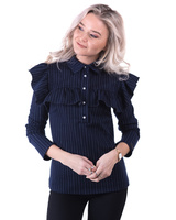 BLUE STRIPE SQUARE FRILL BLOUSE