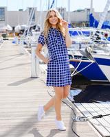 BLUE SQUARED FRILL PEARL DRESS