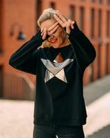 BLACK SPARKLE GOLD SILVER STAR PRINT OVERSIZE SWEATER