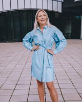 BELTED DENIM DRESS WITH PUFFED SLEEVES