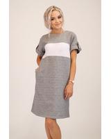 CUSTOM SLOGAN - GREY PEARL DRESS